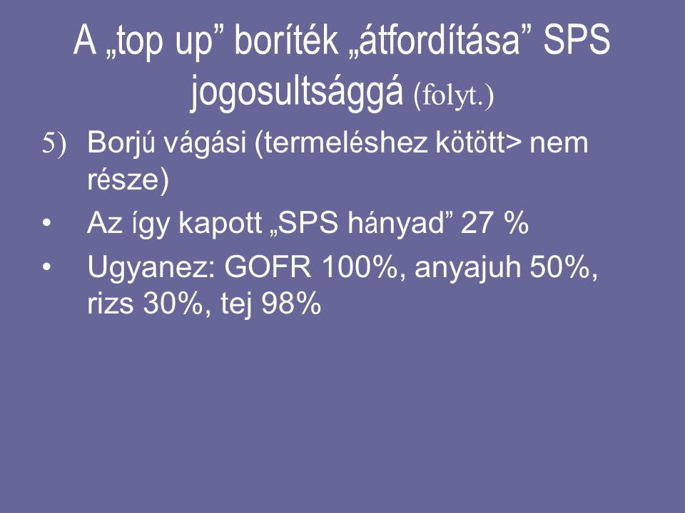 """A """"top up"""" boríték """"átfordítása"""" SPS jogosultsággá ( folyt.) 5) Borj ú v á g á si (termel é shez k ö t ö tt> nem r é sze) •Az í gy kapott """" SPS h á ny"""