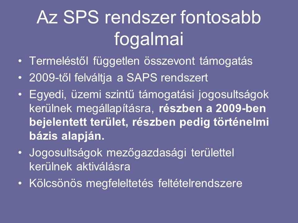 Az SPS rendszer fontosabb fogalmai •Termeléstől független összevont támogatás •2009-től felváltja a SAPS rendszert •Egyedi, üzemi szintű támogatási jo
