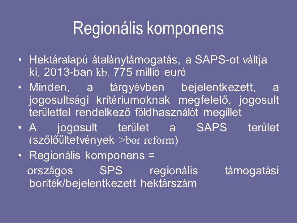 Regionális komponens •Hekt á ralap ú á tal á nyt á mogat á s, a SAPS-ot v á ltja ki, 2013-ban kb. 775 milli ó eur ó •Minden, a t á rgy é vben bejelent