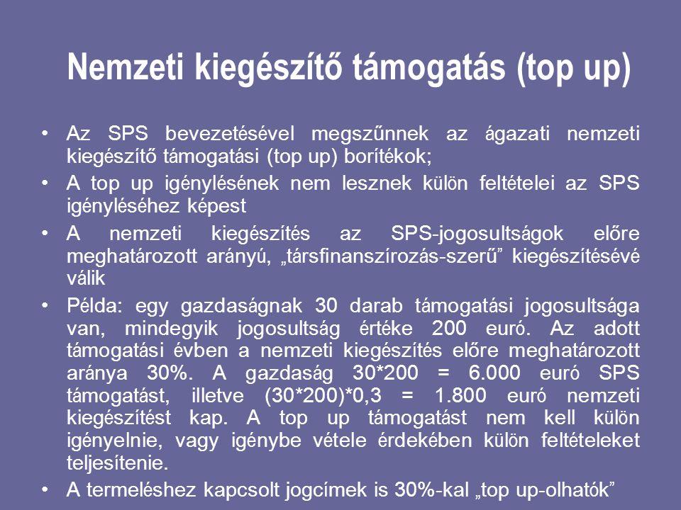 Nemzeti kiegészítő támogatás (top up) •Az SPS bevezet é s é vel megszűnnek az á gazati nemzeti kieg é sz í tő t á mogat á si (top up) bor í t é kok; •