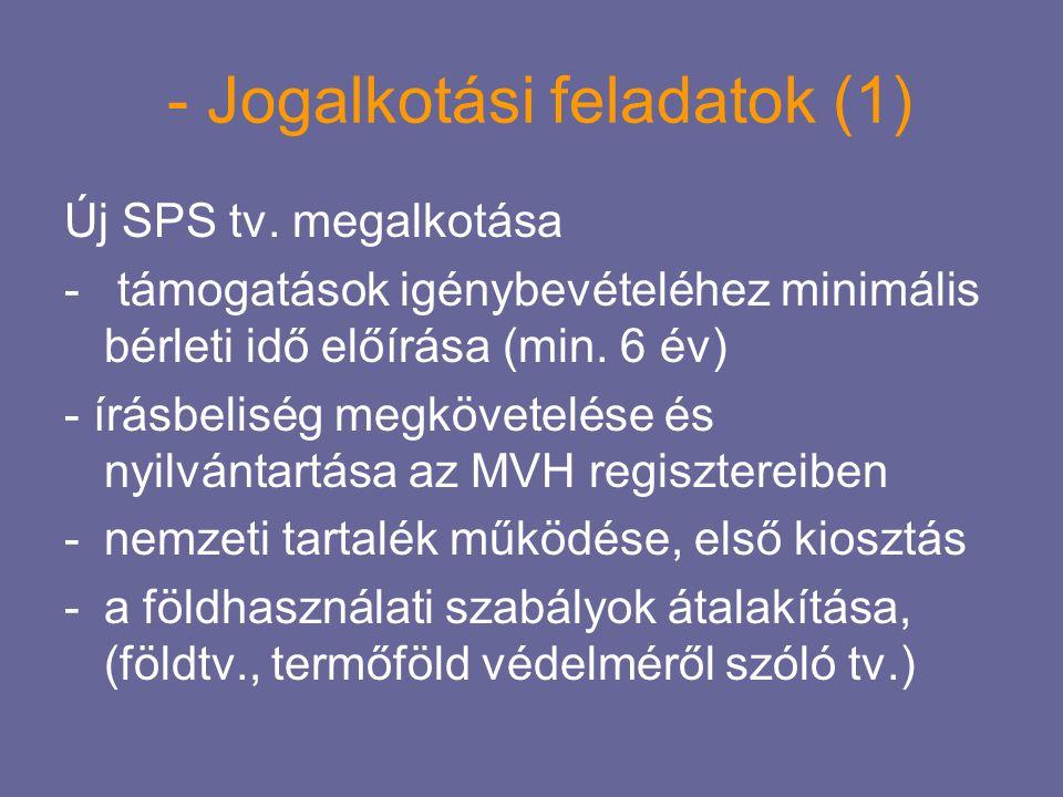 - Jogalkotási feladatok (1) Új SPS tv. megalkotása - támogatások igénybevételéhez minimális bérleti idő előírása (min. 6 év) - írásbeliség megkövetelé