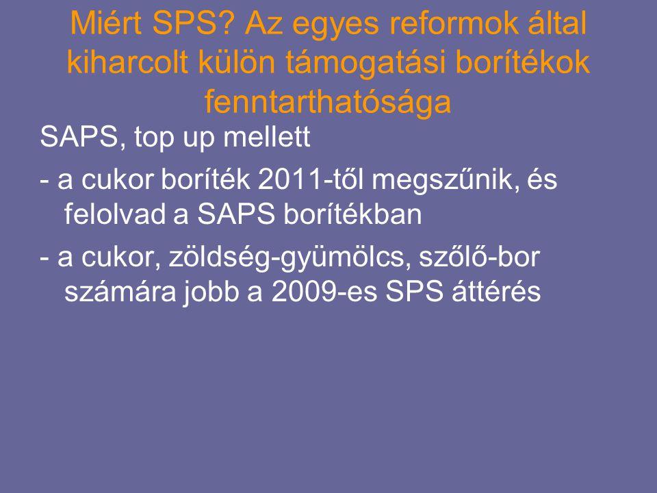 Miért SPS? Az egyes reformok által kiharcolt külön támogatási borítékok fenntarthatósága SAPS, top up mellett - a cukor boríték 2011-től megszűnik, és