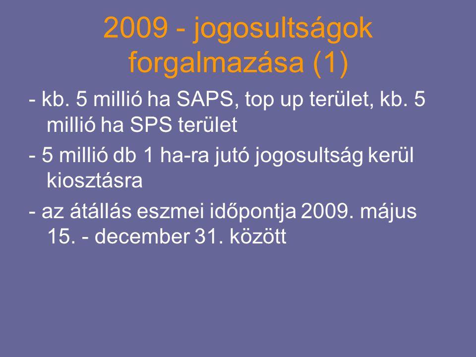 2009 - jogosultságok forgalmazása (1) - kb. 5 millió ha SAPS, top up terület, kb. 5 millió ha SPS terület - 5 millió db 1 ha-ra jutó jogosultság kerül