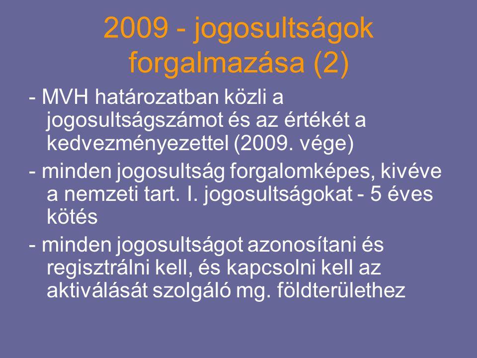 2009 - jogosultságok forgalmazása (3) Cél: lehetőleg mg-i szektoron belül, és együtt mozogjon a föld és a jogosultság Javaslat: - üzemmel, földdel történő mg-n belüli értékesítés esetén 0%-os elvonás, 0%-os adó, illeték (egyes alesetekben differenciálni lehet, pl.