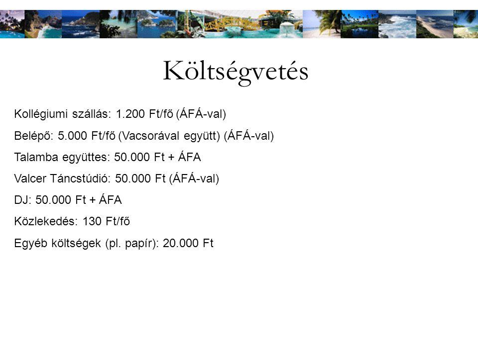 Költségvetés Kollégiumi szállás: 1.200 Ft/fő (ÁFÁ-val) Belépő: 5.000 Ft/fő (Vacsorával együtt) (ÁFÁ-val) Talamba együttes: 50.000 Ft + ÁFA Valcer Táncstúdió: 50.000 Ft (ÁFÁ-val) DJ: 50.000 Ft + ÁFA Közlekedés: 130 Ft/fő Egyéb költségek (pl.