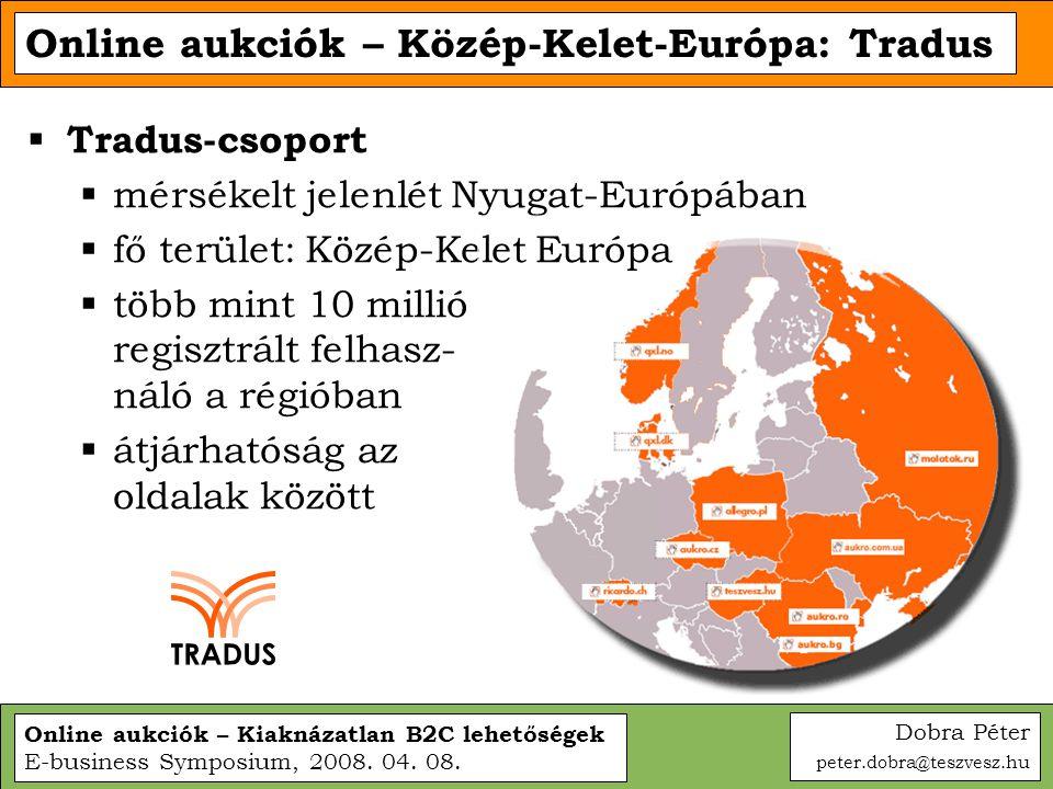 Online aukciók – Kiaknázatlan B2C lehetőségek E-business Symposium, 2008. 04. 08. Online aukciók – Közép-Kelet-Európa: Tradus  Tradus-csoport  mérsé