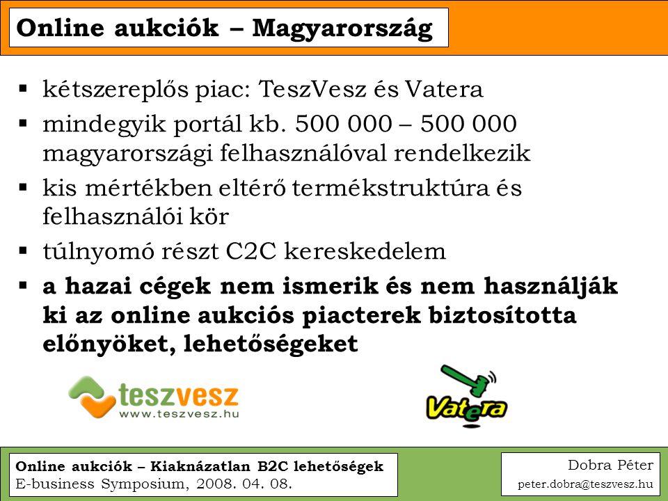 Online aukciók – Kiaknázatlan B2C lehetőségek E-business Symposium, 2008. 04. 08. Online aukciók – Magyarország  kétszereplős piac: TeszVesz és Vater