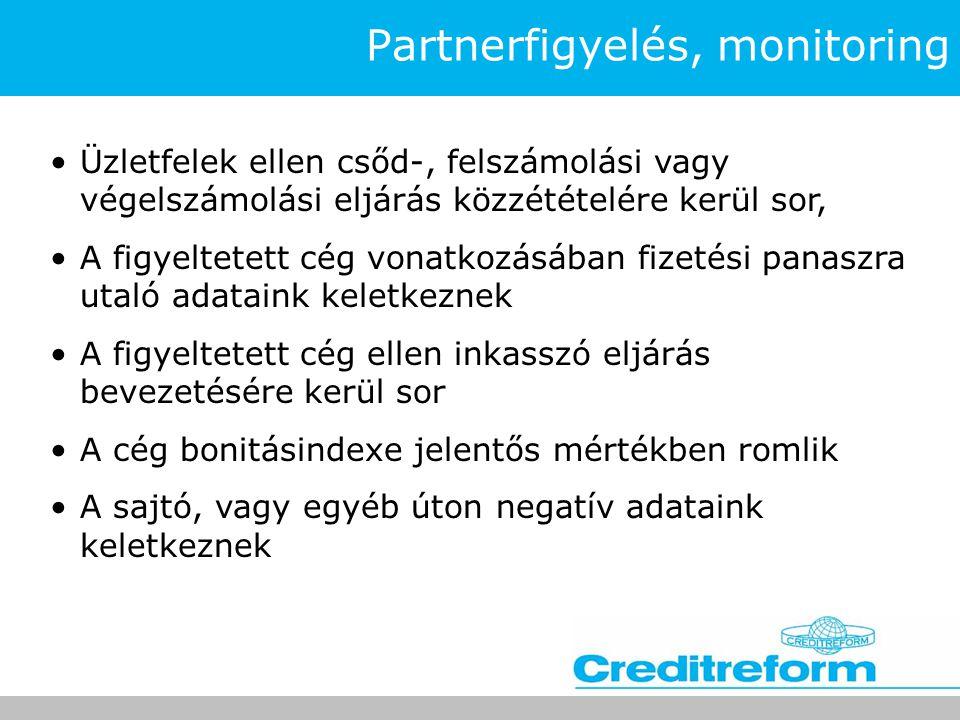 Partnerfigyelés, monitoring •Üzletfelek ellen csőd-, felszámolási vagy végelszámolási eljárás közzétételére kerül sor, •A figyeltetett cég vonatkozásá