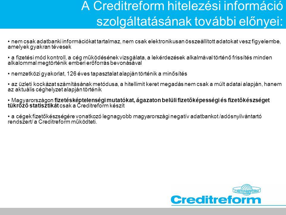 A Creditreform hitelezési információ szolgáltatásának további előnyei: • nem csak adatbanki információkat tartalmaz, nem csak elektronikusan összeállí