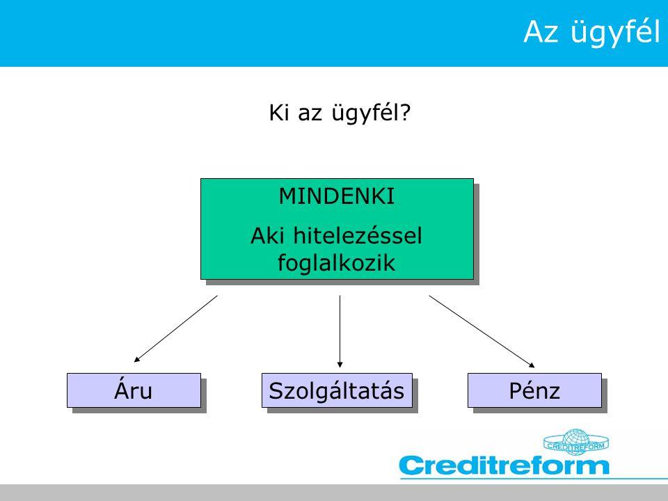 Az ügyfél Ki az ügyfél? MINDENKI Aki hitelezéssel foglalkozik MINDENKI Aki hitelezéssel foglalkozik Áru Szolgáltatás Pénz