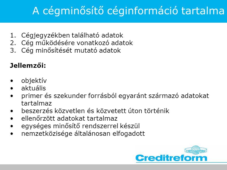 A cégminősítő céginformáció tartalma 1.Cégjegyzékben található adatok 2.Cég működésére vonatkozó adatok 3.Cég minősítését mutató adatok Jellemzői: •ob