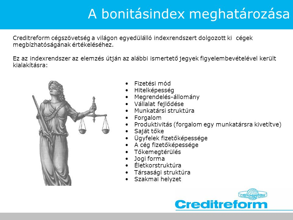 A bonitásindex meghatározása Creditreform cégszövetség a világon egyedülálló indexrendszert dolgozott ki cégek megbízhatóságának értékeléséhez. Ez az