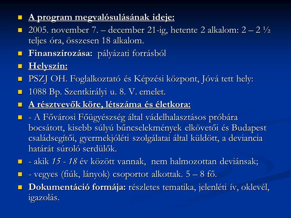  A program megvalósulásának ideje:  2005.november 7.