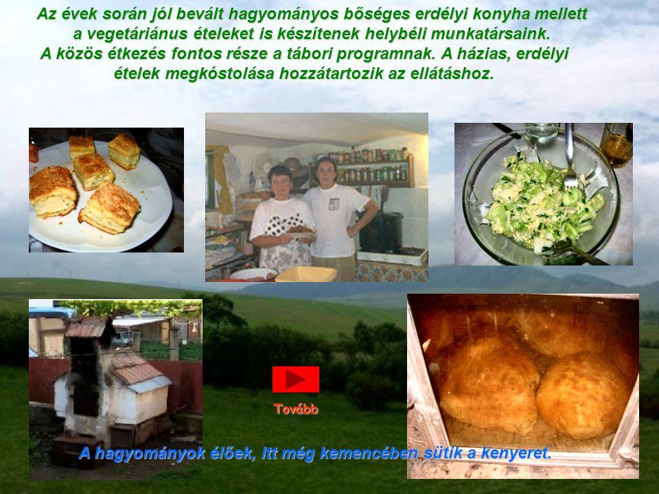Az évek során jól bevált hagyományos bőséges erdélyi konyha mellett a vegetáriánus ételeket is készítenek helybéli munkatársaink. A közös étkezés font