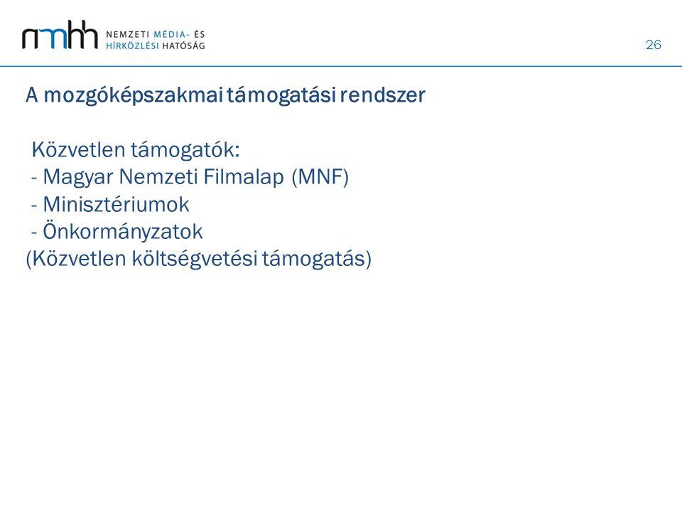 26 A mozgóképszakmai támogatási rendszer Közvetlen támogatók: - Magyar Nemzeti Filmalap (MNF) - Minisztériumok - Önkormányzatok (Közvetlen költségveté