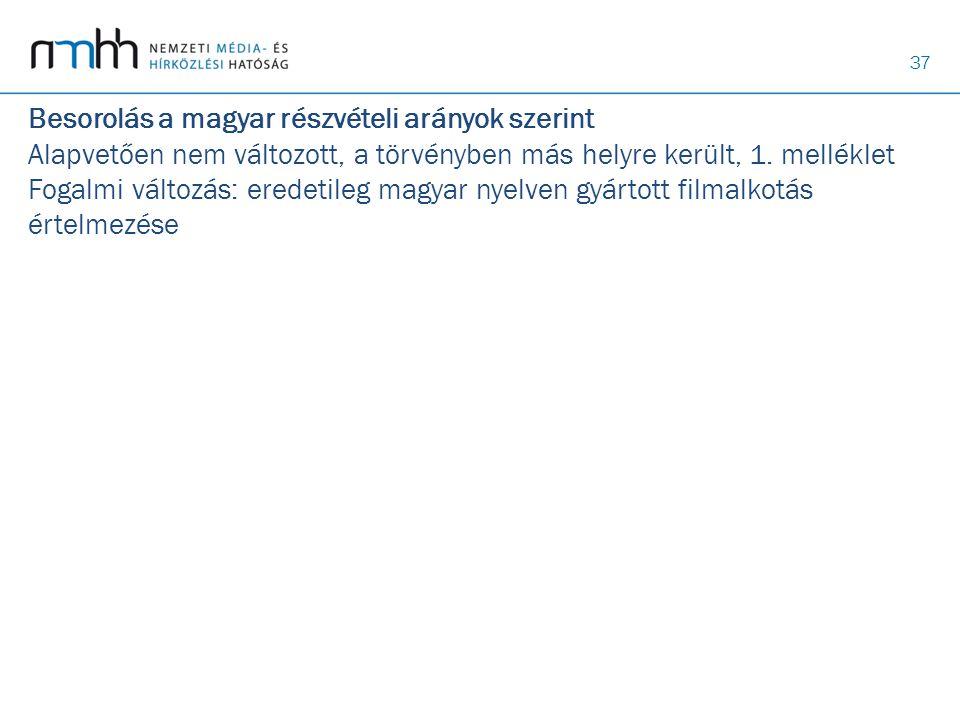 37 Besorolás a magyar részvételi arányok szerint Alapvetően nem változott, a törvényben más helyre került, 1. melléklet Fogalmi változás: eredetileg m