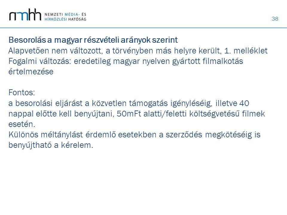 38 Besorolás a magyar részvételi arányok szerint Alapvetően nem változott, a törvényben más helyre került, 1. melléklet Fogalmi változás: eredetileg m