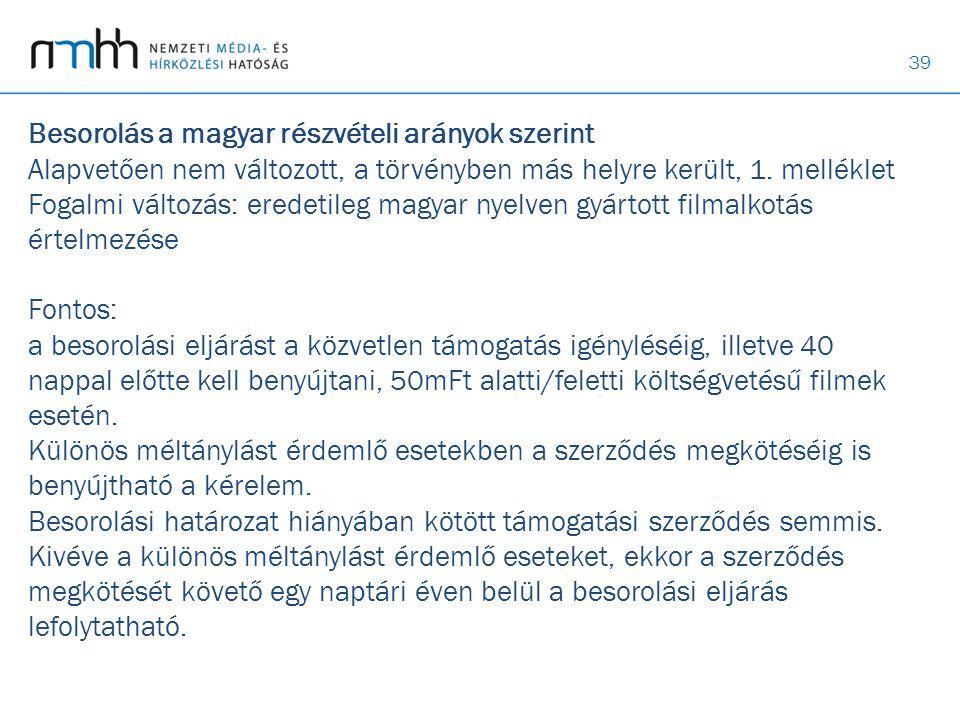 39 Besorolás a magyar részvételi arányok szerint Alapvetően nem változott, a törvényben más helyre került, 1. melléklet Fogalmi változás: eredetileg m