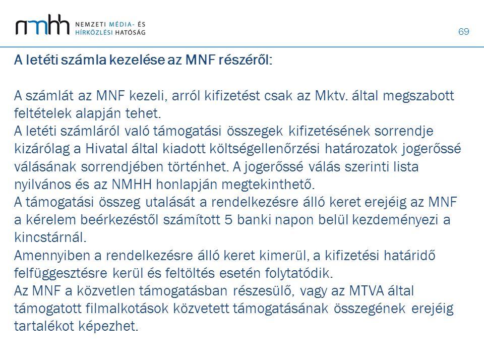 69 A letéti számla kezelése az MNF részéről: A számlát az MNF kezeli, arról kifizetést csak az Mktv. által megszabott feltételek alapján tehet. A leté