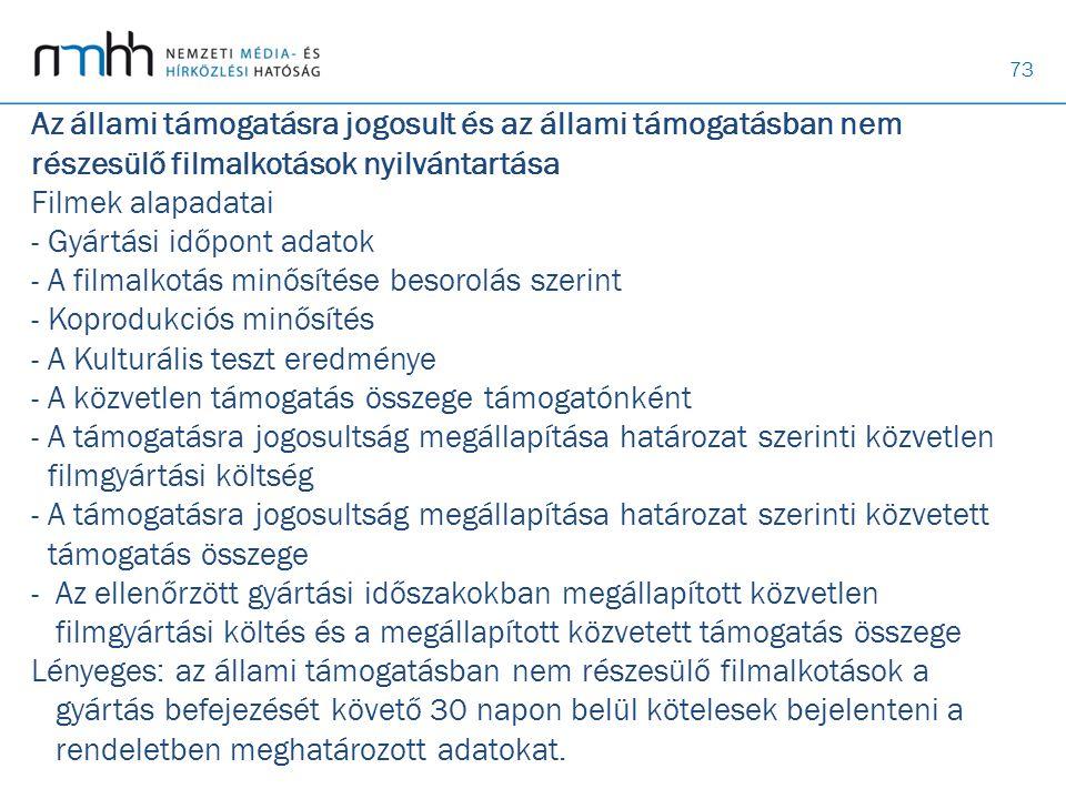 73 Az állami támogatásra jogosult és az állami támogatásban nem részesülő filmalkotások nyilvántartása Filmek alapadatai - Gyártási időpont adatok - A