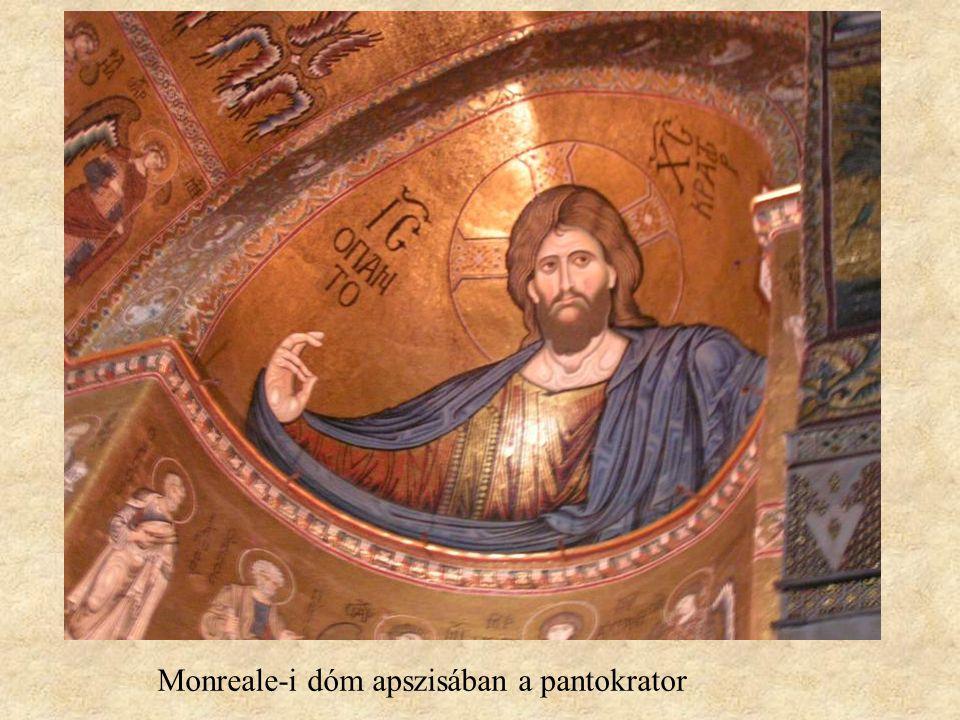 Monreale-i dóm apszisában a pantokrator
