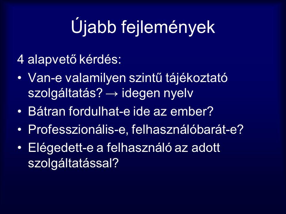 Újabb fejlemények 4 alapvető kérdés: •Van-e valamilyen szintű tájékoztató szolgáltatás? → idegen nyelv •Bátran fordulhat-e ide az ember? •Professzioná