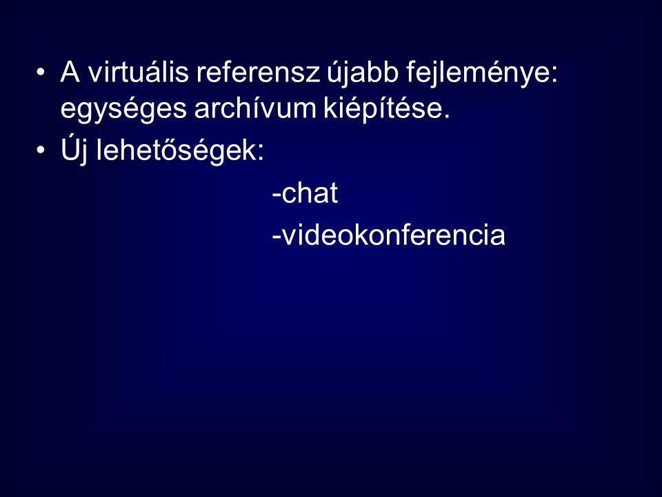 •A virtuális referensz újabb fejleménye: egységes archívum kiépítése. •Új lehetőségek: -chat -videokonferencia