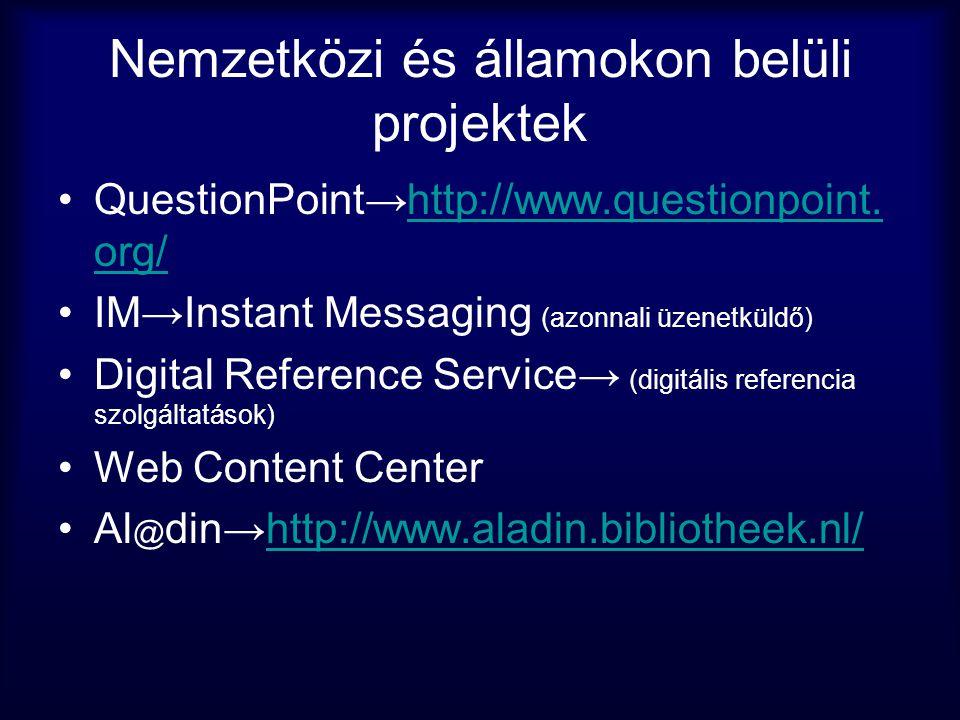 Nemzetközi és államokon belüli projektek •QuestionPoint→http://www.questionpoint. org/http://www.questionpoint. org/ •IM→Instant Messaging (azonnali ü