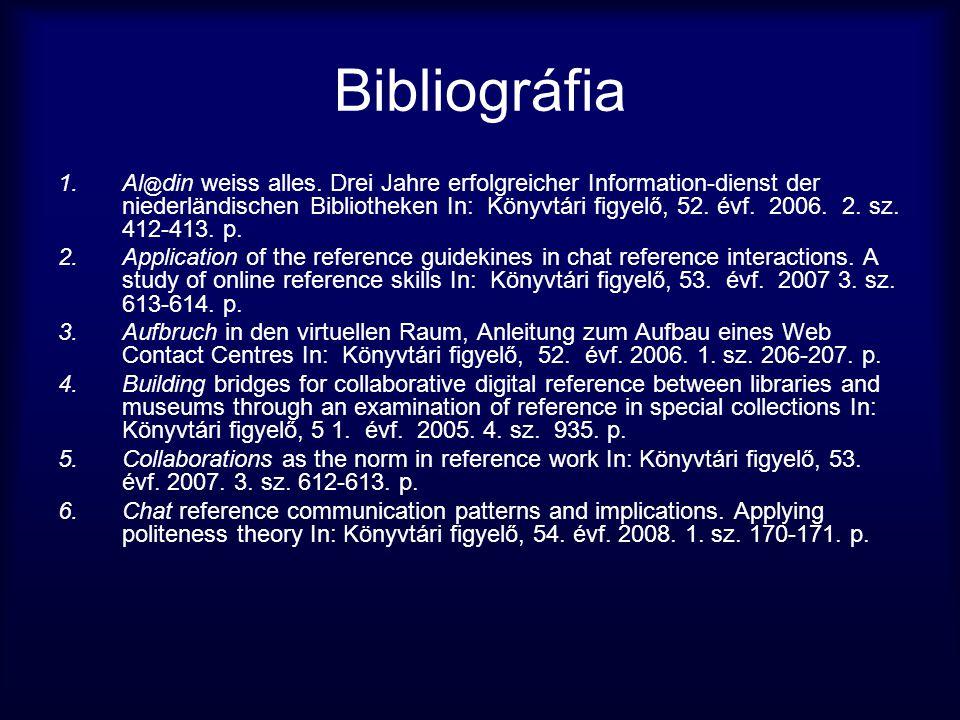 Bibliográfia 1.Al @ din weiss alles. Drei Jahre erfolgreicher Information-dienst der niederländischen Bibliotheken In: Könyvtári figyelő, 52. évf. 200