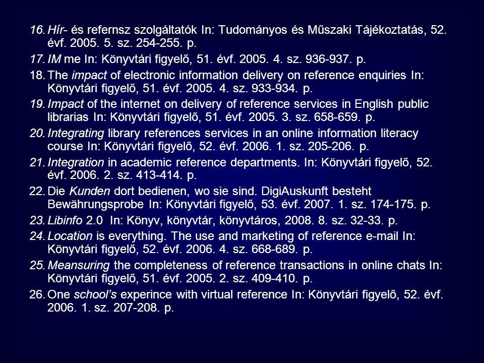16.Hír- és refernsz szolgáltatók In: Tudományos és Műszaki Tájékoztatás, 52. évf. 2005. 5. sz. 254-255. p. 17.IM me In: Könyvtári figyelő, 51. évf. 20