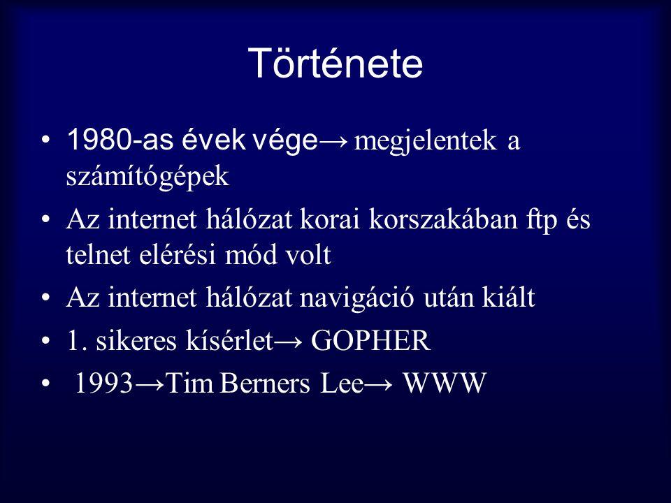 Története •1980-as évek vége → megjelentek a számítógépek •Az internet hálózat korai korszakában ftp és telnet elérési mód volt •Az internet hálózat n
