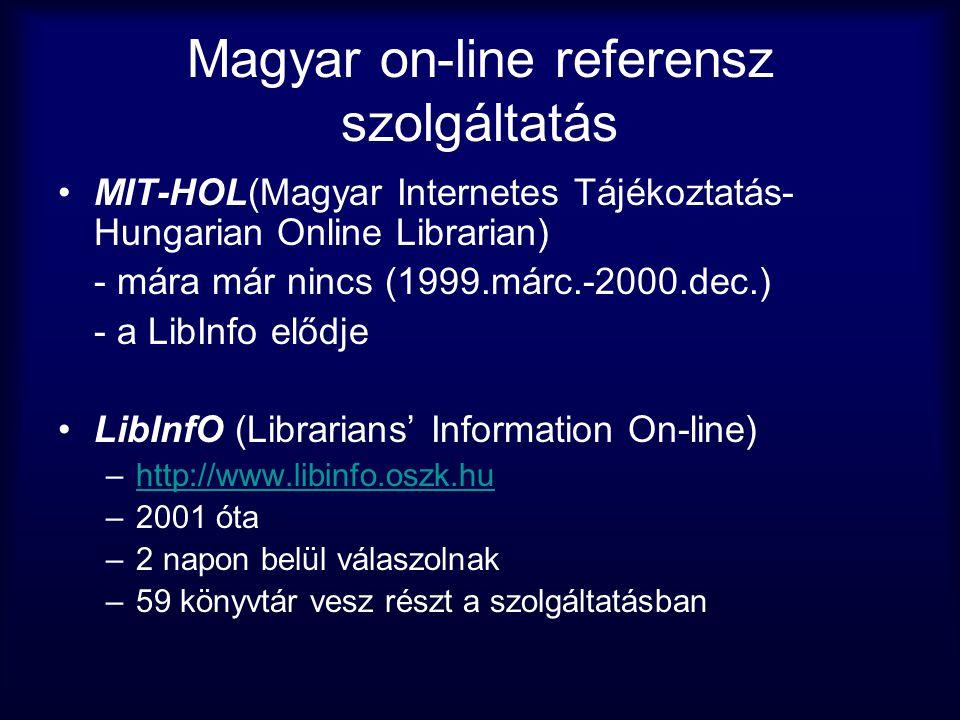 Magyar on-line referensz szolgáltatás •MIT-HOL(Magyar Internetes Tájékoztatás- Hungarian Online Librarian) - mára már nincs (1999.márc.-2000.dec.) - a