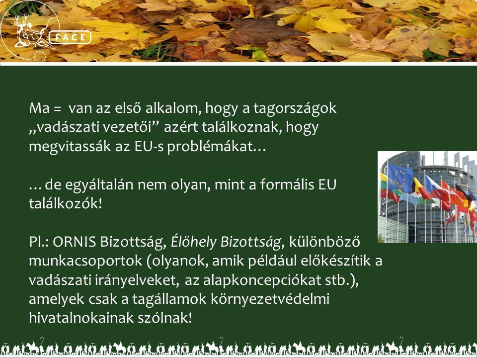 """Ma = van az első alkalom, hogy a tagországok """"vadászati vezetői"""" azért találkoznak, hogy megvitassák az EU-s problémákat… …de egyáltalán nem olyan, mi"""