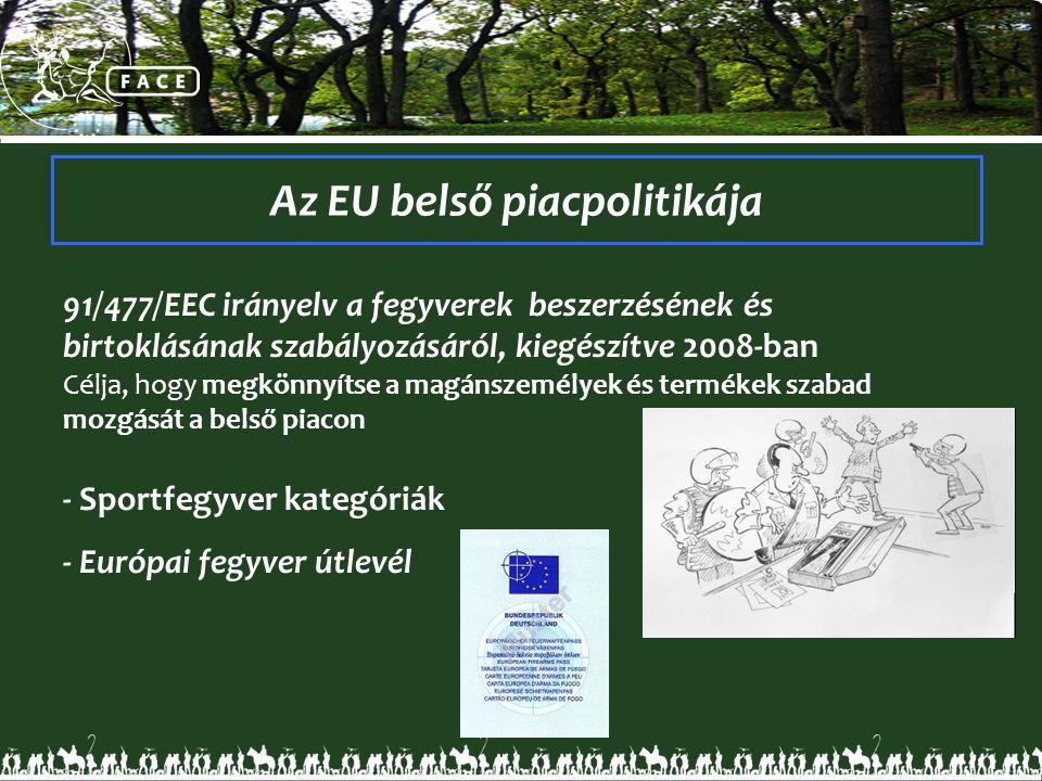 91/477/EEC irányelv a fegyverek beszerzésének és birtoklásának szabályozásáról, kiegészítve 2008-ban Célja, hogy megkönnyítse a magánszemélyek és term