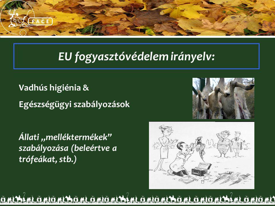 """Vadhús higiénia & Egészségügyi szabályozások Állati """"melléktermékek"""" szabályozása (beleértve a trófeákat, stb.) EU fogyasztóvédelem irányelv:"""