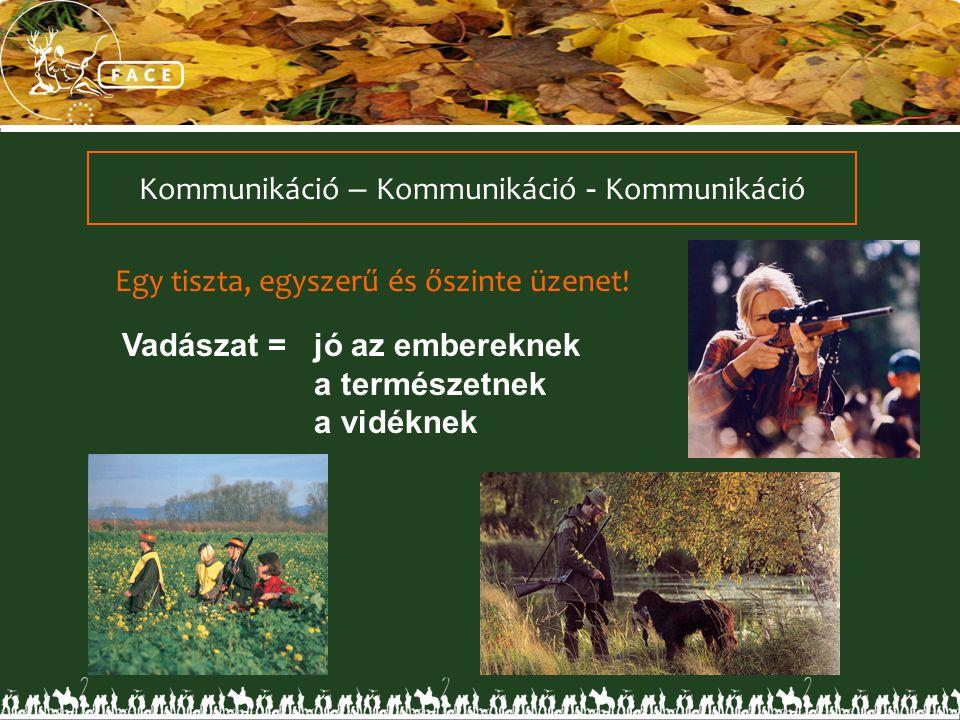 Kommunikáció – Kommunikáció - Kommunikáció Egy tiszta, egyszerű és őszinte üzenet! Vadászat =jó az embereknek a természetnek a vidéknek