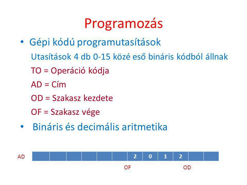 Programozás • Gépi kódú programutasítások Utasítások 4 db 0-15 közé eső bináris kódból állnak TO = Operáció kódja AD = Cím OD = Szakasz kezdete OF = Szakasz vége • Bináris és decimális aritmetika ODOF 2012 AD