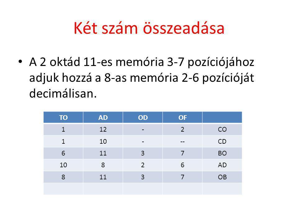 Két szám összeadása • A 2 oktád 11-es memória 3-7 pozíciójához adjuk hozzá a 8-as memória 2-6 pozícióját decimálisan.