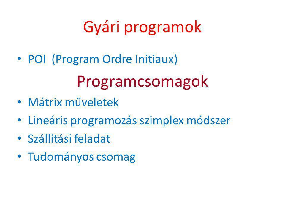 Gyári programok • POI (Program Ordre Initiaux) Programcsomagok • Mátrix műveletek • Lineáris programozás szimplex módszer • Szállítási feladat • Tudományos csomag
