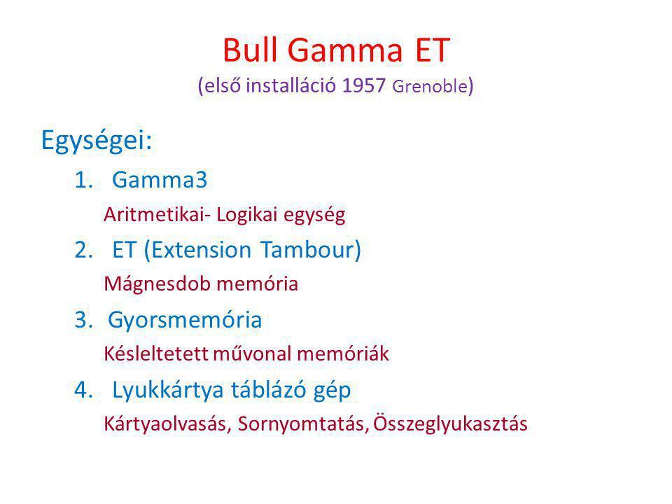 Bull Gamma ET (első installáció 1957 Grenoble ) Egységei: 1.Gamma3 Aritmetikai- Logikai egység 2.ET (Extension Tambour) Mágnesdob memória 3.Gyorsmemória Késleltetett művonal memóriák 4.Lyukkártya táblázó gép Kártyaolvasás, Sornyomtatás, Összeglyukasztás