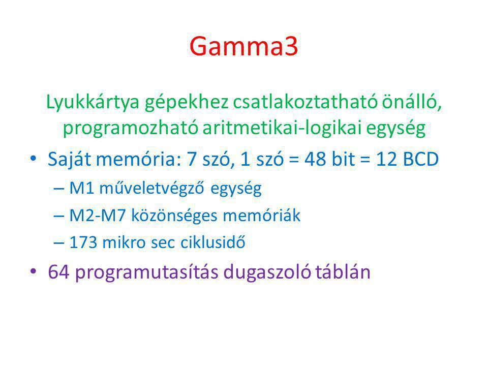 Gamma3 Lyukkártya gépekhez csatlakoztatható önálló, programozható aritmetikai-logikai egység • Saját memória: 7 szó, 1 szó = 48 bit = 12 BCD – M1 műveletvégző egység – M2-M7 közönséges memóriák – 173 mikro sec ciklusidő • 64 programutasítás dugaszoló táblán