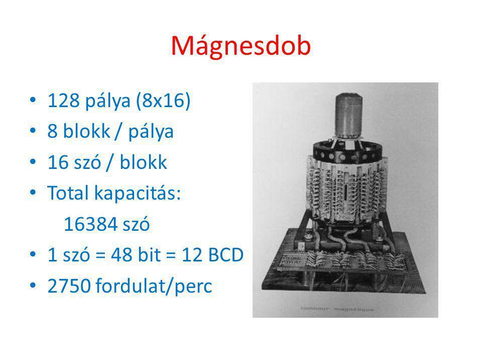 Mágnesdob • 128 pálya (8x16) • 8 blokk / pálya • 16 szó / blokk • Total kapacitás: 16384 szó • 1 szó = 48 bit = 12 BCD • 2750 fordulat/perc