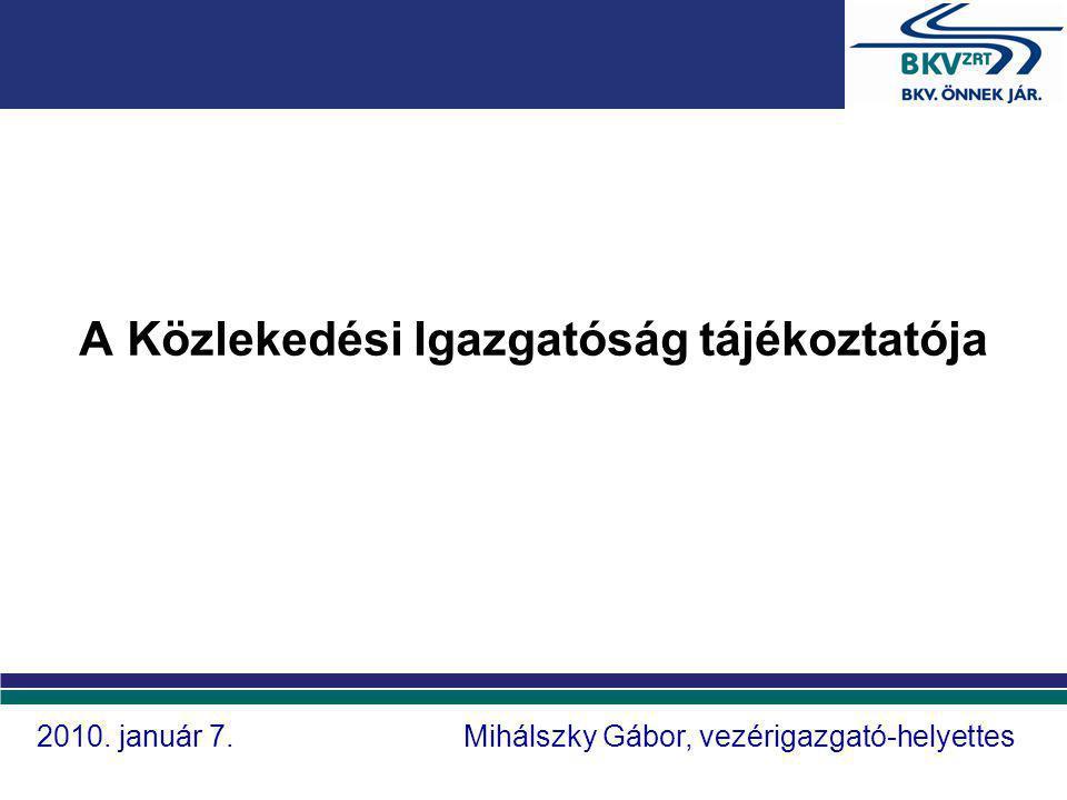 A Közlekedési Igazgatóság tájékoztatója 2010. január 7.Mihálszky Gábor, vezérigazgató-helyettes