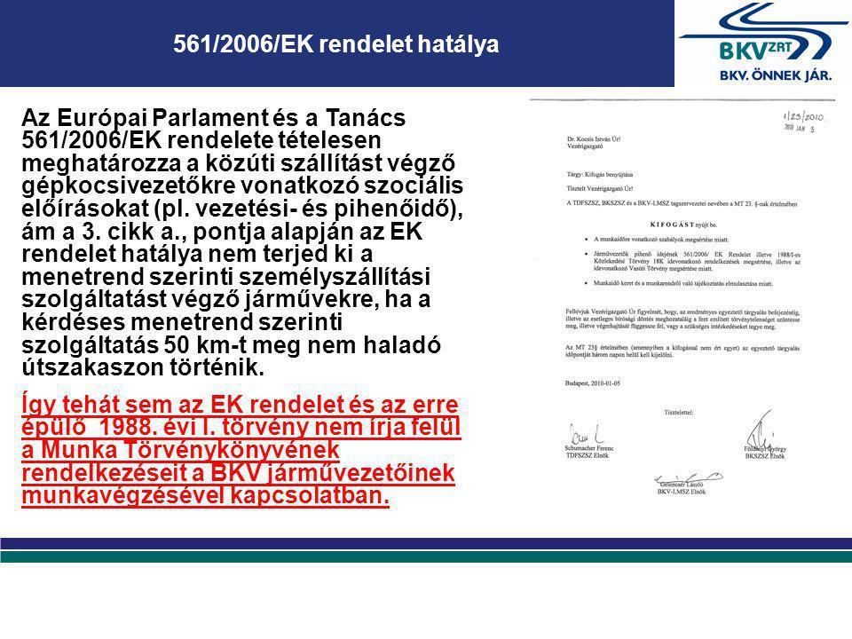 561/2006/EK rendelet hatálya Az Európai Parlament és a Tanács 561/2006/EK rendelete tételesen meghatározza a közúti szállítást végző gépkocsivezetőkre