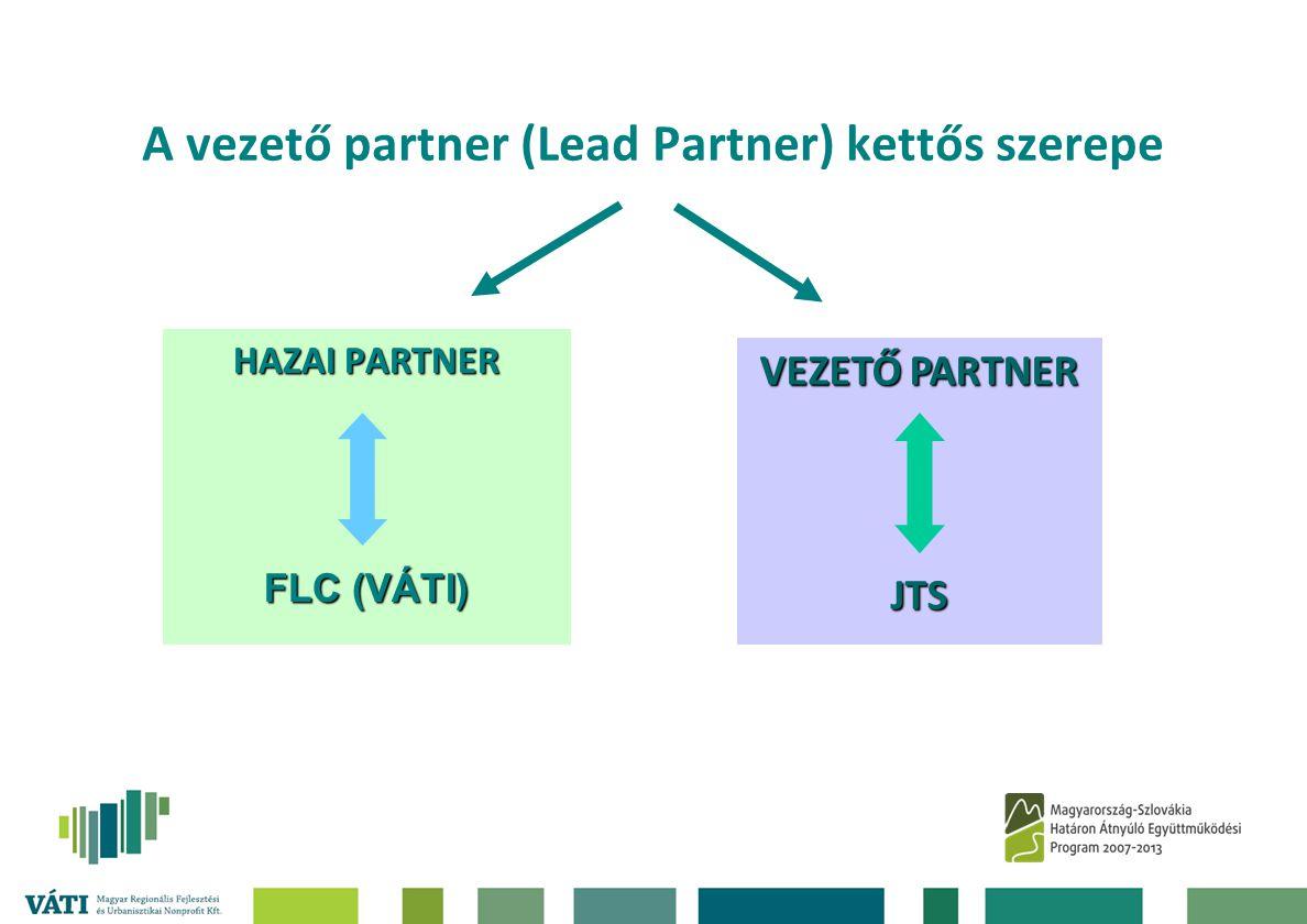 A vezető partner (Lead Partner) kettős szerepe HAZAI PARTNER FLC (VÁTI) VEZETŐ PARTNER JTS