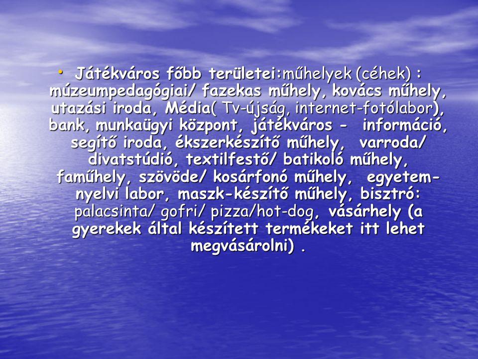 • Játékváros főbb területei:műhelyek (céhek) : múzeumpedagógiai/ fazekas műhely, kovács műhely, utazási iroda, Média( Tv-újság, internet-fotólabor), bank, munkaügyi központ, játékváros - információ, segítő iroda, ékszerkészítő műhely, varroda/ divatstúdió, textilfestő/ batikoló műhely, faműhely, szövöde/ kosárfonó műhely, egyetem- nyelvi labor, maszk-készítő műhely, bisztró: palacsinta/ gofri/ pizza/hot-dog, vásárhely (a gyerekek által készített termékeket itt lehet megvásárolni).