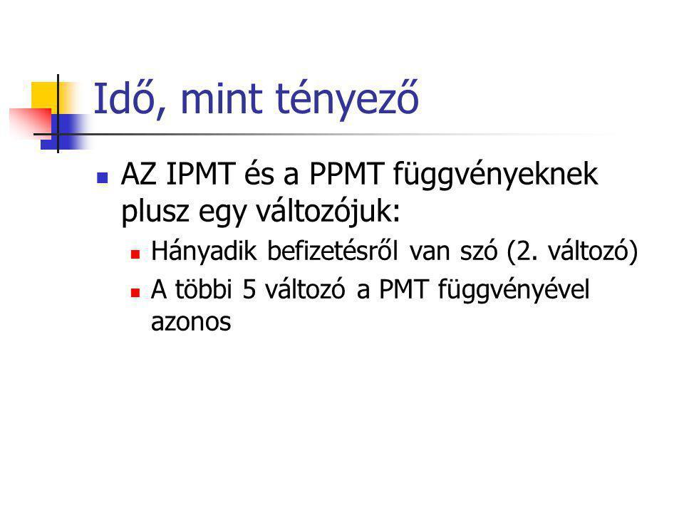 Idő, mint tényező  AZ IPMT és a PPMT függvényeknek plusz egy változójuk:  Hányadik befizetésről van szó (2. változó)  A többi 5 változó a PMT függv