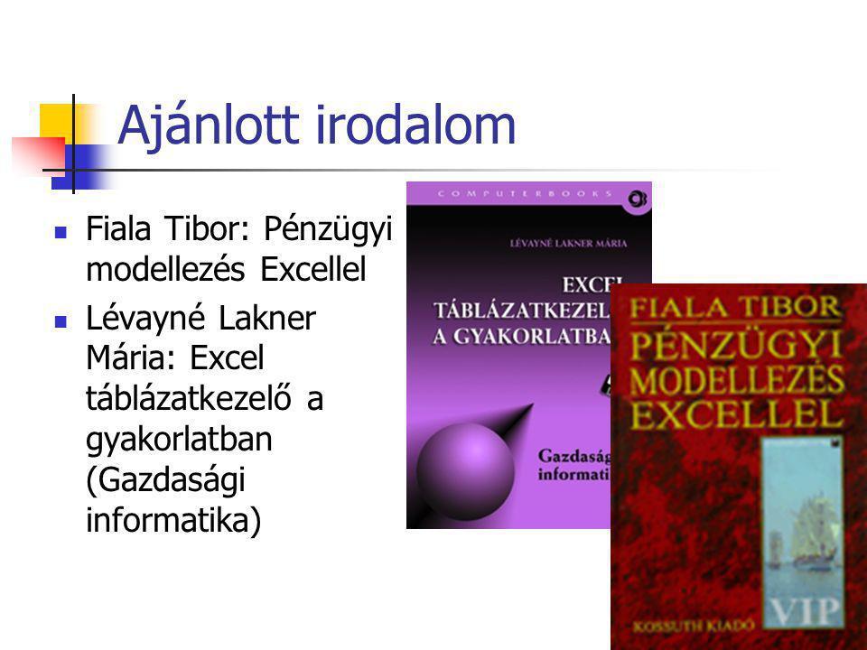 Ajánlott irodalom  Fiala Tibor: Pénzügyi modellezés Excellel  Lévayné Lakner Mária: Excel táblázatkezelő a gyakorlatban (Gazdasági informatika)