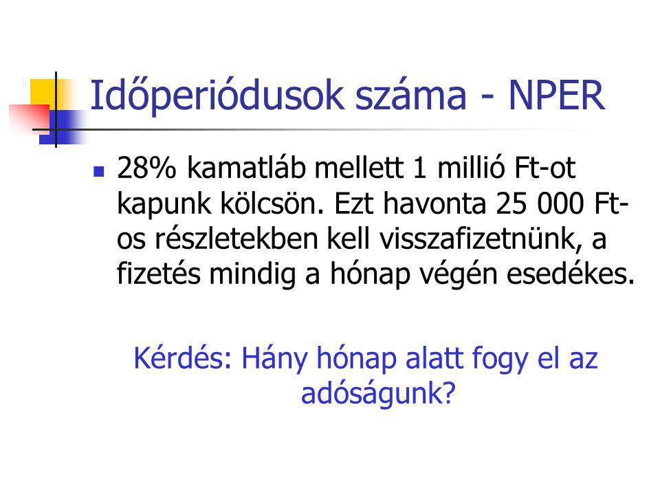 Időperiódusok száma - NPER  28% kamatláb mellett 1 millió Ft-ot kapunk kölcsön. Ezt havonta 25 000 Ft- os részletekben kell visszafizetnünk, a fizeté