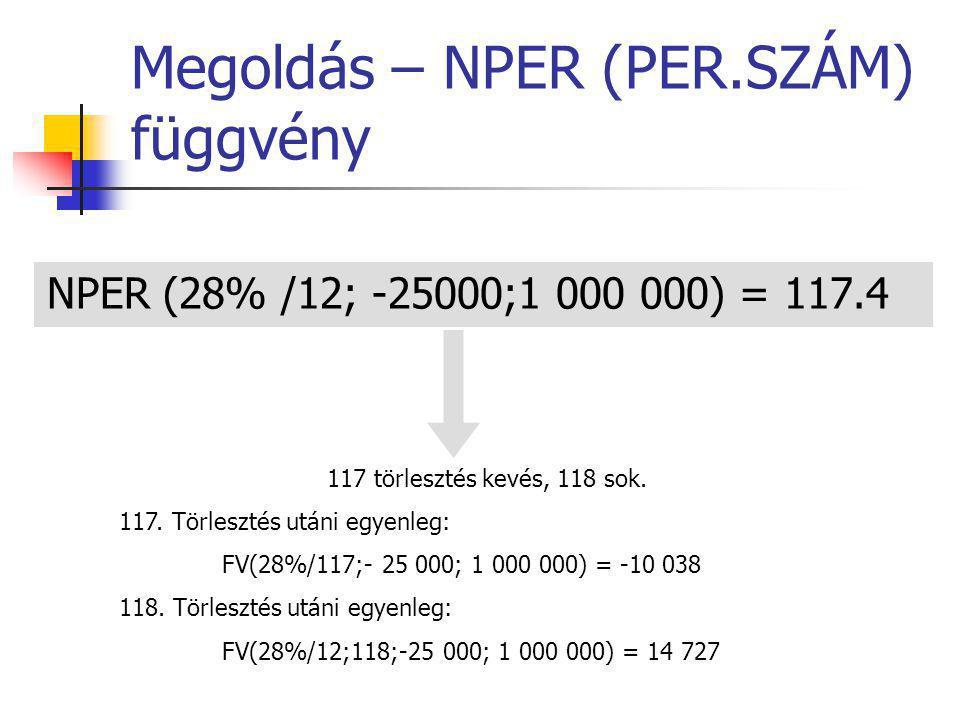 Megoldás – NPER (PER.SZÁM) függvény NPER (28% /12; -25000;1 000 000) = 117.4 117 törlesztés kevés, 118 sok. 117. Törlesztés utáni egyenleg: FV(28%/117